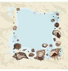 Summer frame of seashells vector