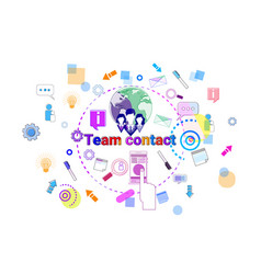 team contact concept business coworkers vector image