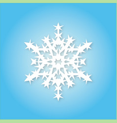 White snowflake on blue background vector