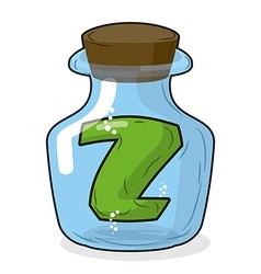 Z in laboratory bottle letter in magical vessel vector