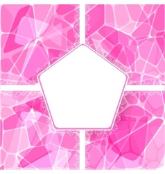 Abstract pink card with lace label vector