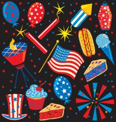 4th of July icons vector image