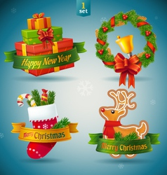 Christmas and new year icons vector