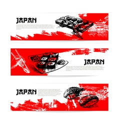 Set of Japanese sushi Sketch banners vector image