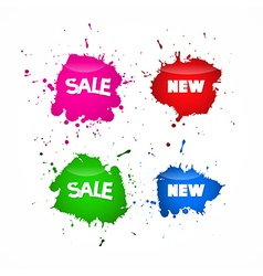 Sale labels tags set in splash blot style vector
