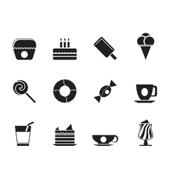 Silhouette Sweet food and confectionery icons vector image