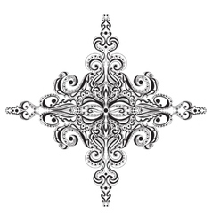Ornamental black and white snowflake vector image