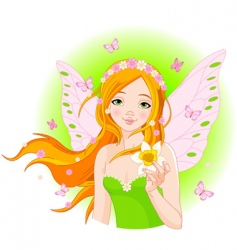 Spring fairy with narcissus vector