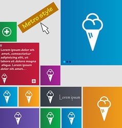 Ice cream icon sign buttons modern interface vector