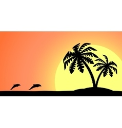 An island with a palm tree vector