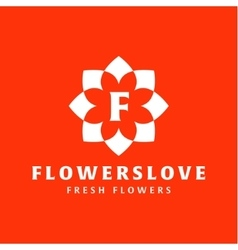 Flower love quality flat trend brand icon vector