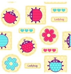 Ladybirds seamless pattern vector