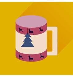 Flat icon with long shadow christmas cup vector