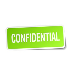 Confidential green square sticker on white vector