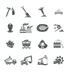 Coal mining equipment black icons set vector