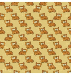 Vintage cartoon cats pattern vector