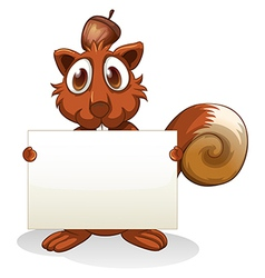 A squirrel holding an empty signboard vector image
