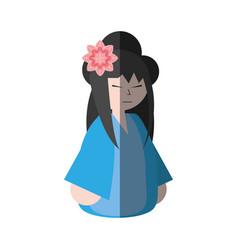 Asian woman wearing dress and sakura flower shadow vector