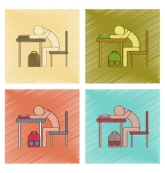 Assembly flat shading style icon student sleeping vector