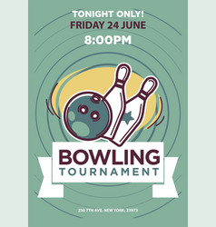 bowling tournament poster template vector image vector image