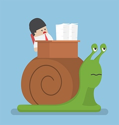 Businessman working slowly on the snail vector