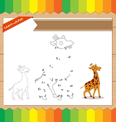 Cartoon Giraffe Dot to dot educational game for vector image vector image