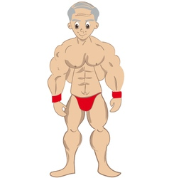 cartoon muscled old man vector image vector image