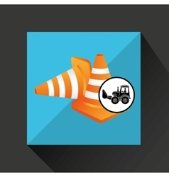 Construction truck concept road cone design vector