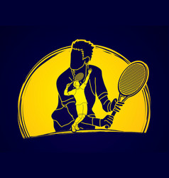 double exposure tennis player sport man action vector image vector image