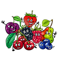 funny fruit characters group cartoon vector image