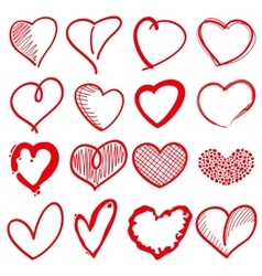 Hand drawn heart shapes romance love doodle vector image