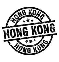 Hong kong black round grunge stamp vector
