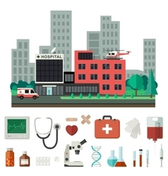 Hospital with medical icons vector