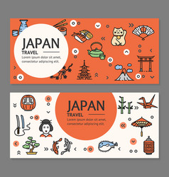 japan travel flyers placrad banners set vector image vector image