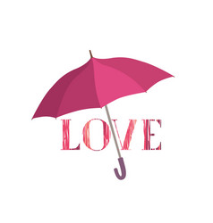 love sign under umbrella protection love lettering vector image