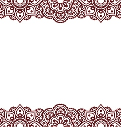 Mehndi indian henna tattoo brown greetings card vector
