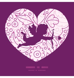 pink flowers lineart shooting cupid vector image