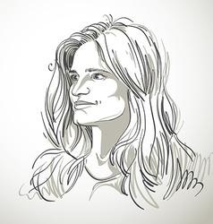Portrait of attractive pensive woman of goo vector