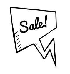 Sale doodle speech bubble discount tag vector image