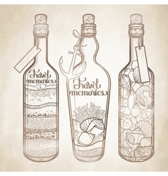 Sand and seashells in bottles vector image vector image