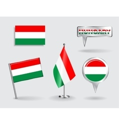 Set of Hungarian pin icon and map pointer flags vector image