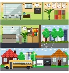 Set of school interior concept design vector