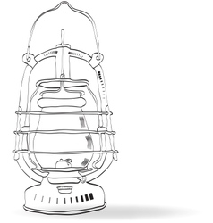 Sketch old kerosene lamp vector