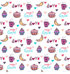 Sweets seamless pattern with cupcake and vector