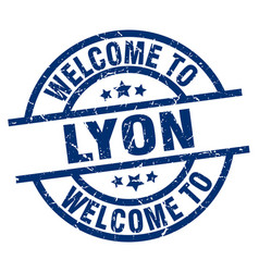 Welcome to lyon blue stamp vector