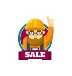 Workerin hard hat sticker vector