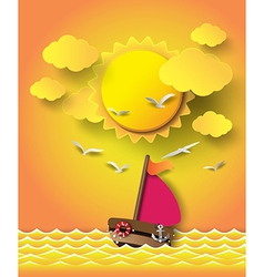 yacht on sea with sunrise vector image vector image