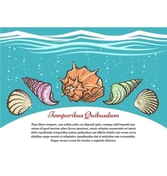 Underwater travel poster with sea shells vector