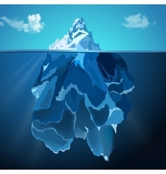 Iceberg in water photo realistic background vector