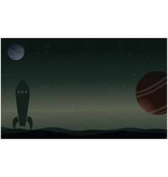 Rocket on outer space with planet landscape vector image